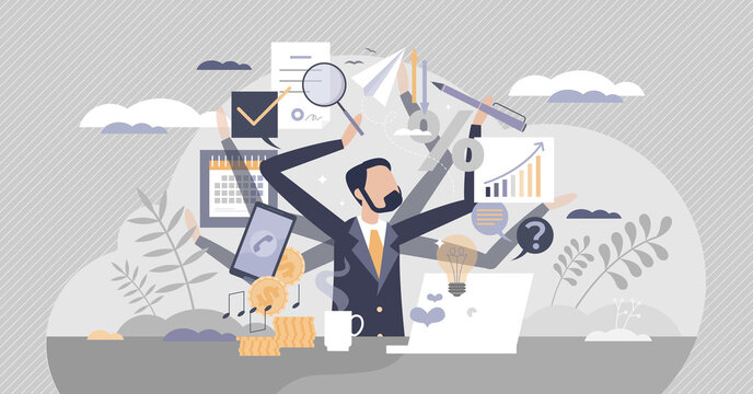 Multitasking work as combine many job duties and tasks tiny person concept