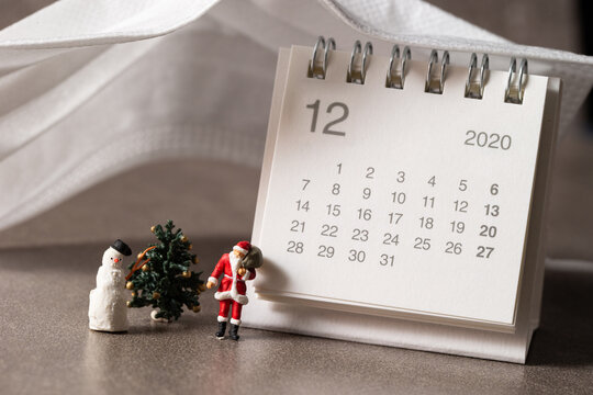 December 2020 calendar and santa miniatures
