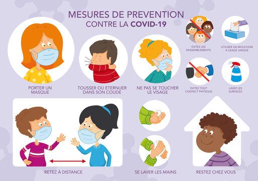 Dessin mesures prévention coronavirus Covid. Enfants. Gestes barrière. Illustration vectorielle couleur. Texte français. Calques