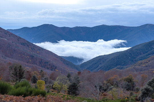 Nice valley with clouds in a cloudy autumn day in mountain Montseny of Spain