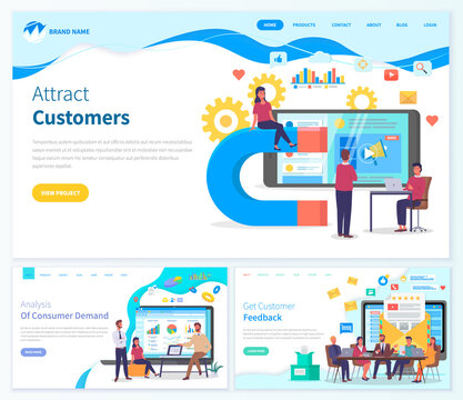 Landing page customer attraction website.Girl sits on large conceptual magnet, man at laptop, large smartphone screen with promotional video. Variety of infographic icons. Website templates customer