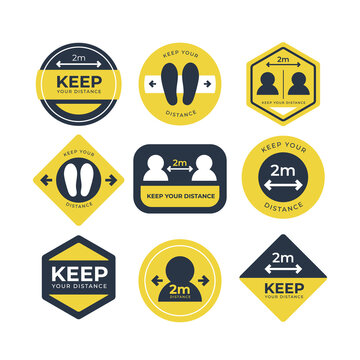 Keep your distance sign collection Vector illustration