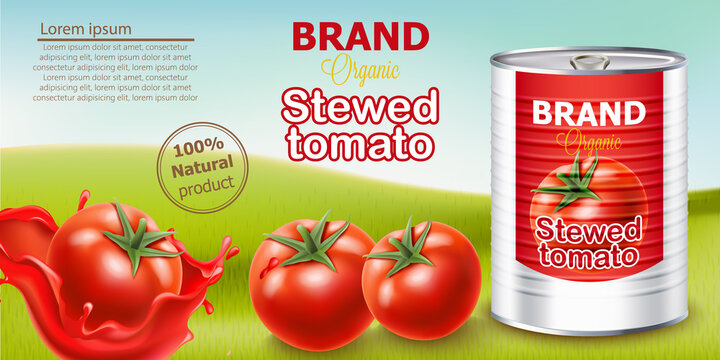 Metallic can standing on meadow surrounded by tomatoes. Place for text. Natural and organic stewed product. Realistic 3D mockup product placement