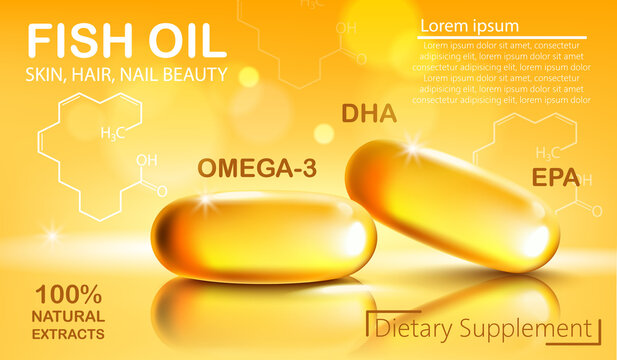 Two shiny capsules with natural extract of fish oil for skin, hair and nail beauty. Dietary supplement with OMEGA-3, DHA and EPA. Place for text. Realistic 3D mockup product placement
