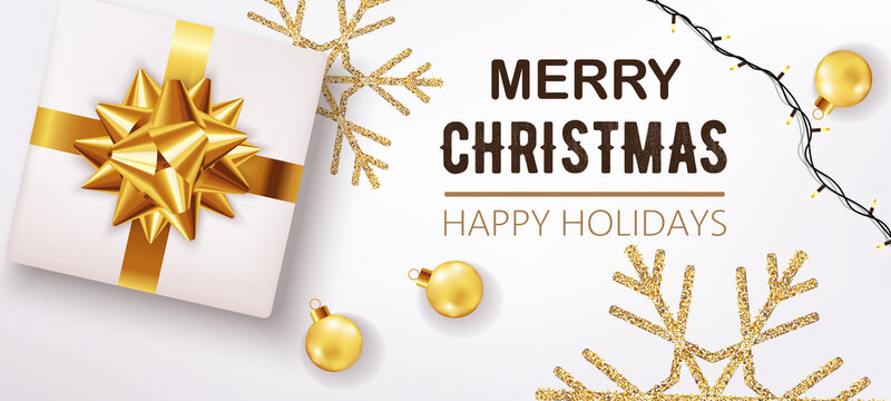 White christmas box with ribbon and golden decorations and festive lights in background. Happy holidays. Realistic 3D mockup product placement