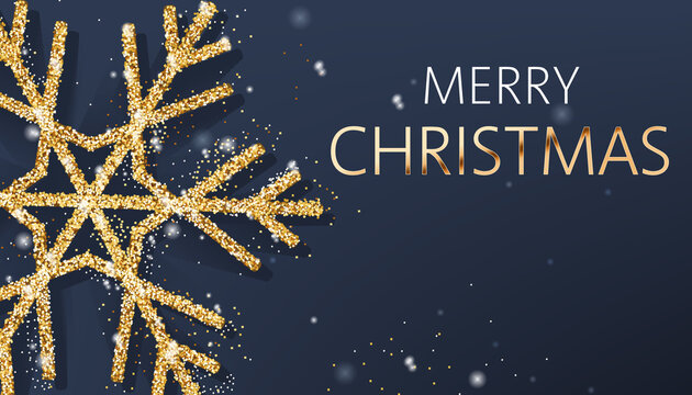 Christmas composition of a big golden snowflake and sparkle. Merry Christmas. Realistic 3D mockup product placement