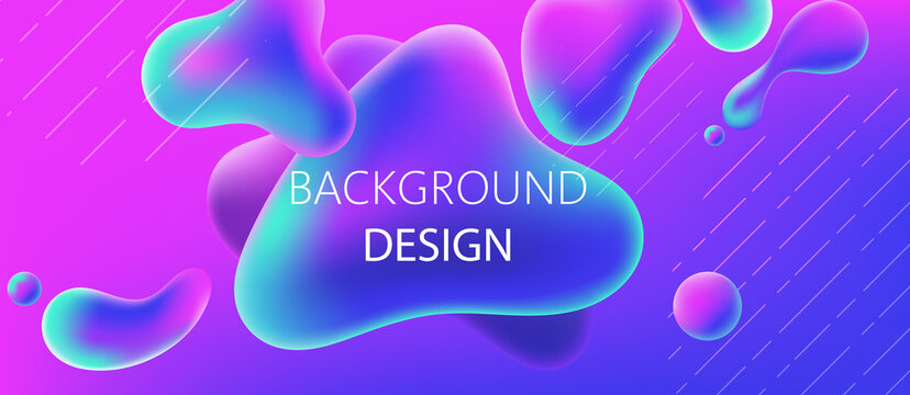 Abstract background design of water alike blobs. Realistic 3D mockup product placement
