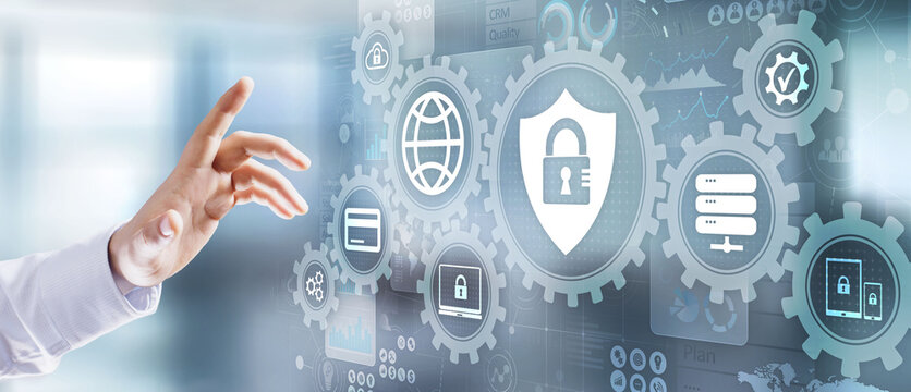 Cyber security digital information protection data privacy internet and technology concept on virtual screen.