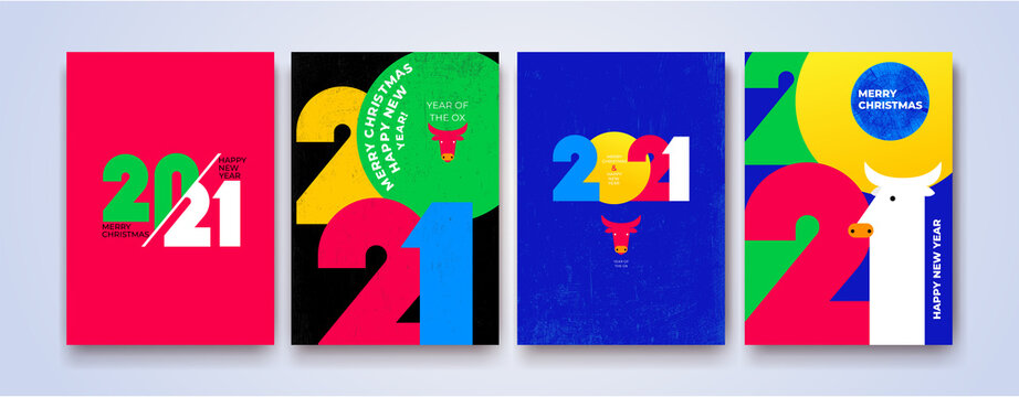Creative concept of 2021 Happy New Year posters. Set of Design 2021 templates with typography logo for celebration and season decoration. Vector minimalistic trendy for branding, banner, cover, card.
