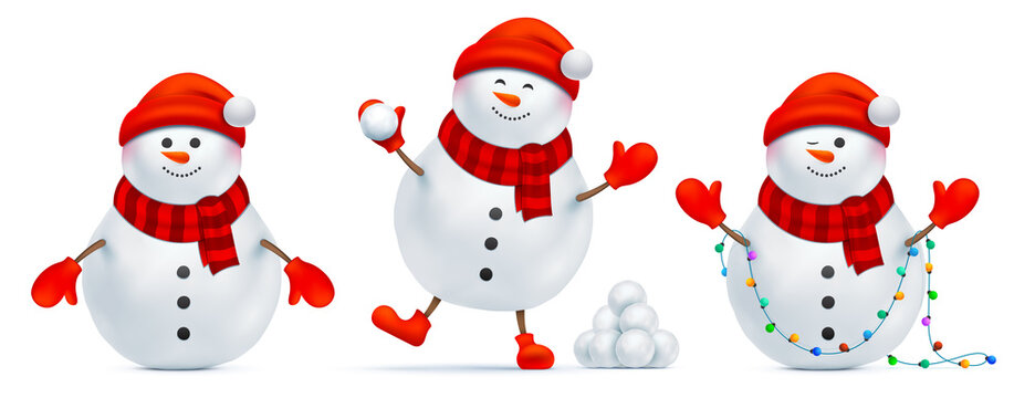 Set of snowman with different emotions and postures. Santa Claus in a red beanie hat with pompon, bunch of snowballs, and Christmas lights, isolated on a white background. Xmas Santa vector character.