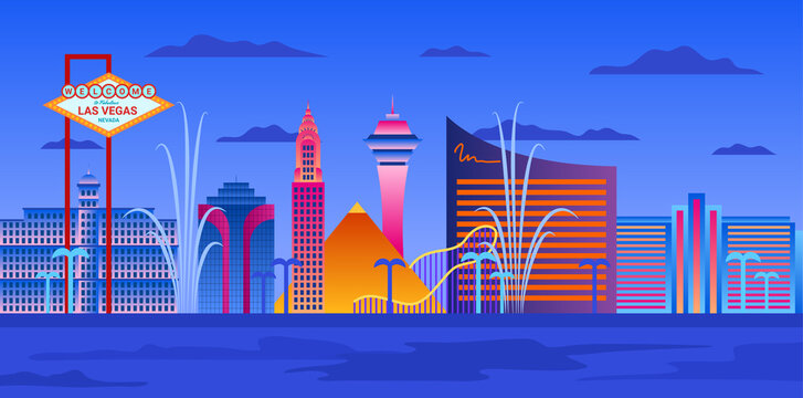 Cartoon Color Las Vegas City Skyline Landscape Scene Concept. Vector
