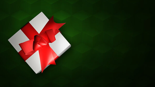 A Christmas gift box with a red ribbon on a cubic pattern green background. A top view holidays advertisement backdrop, with copy space