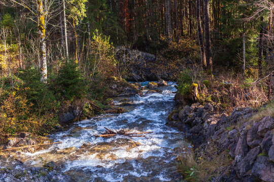Ramsauer Ache ist der Abluß des Hintersee bei Ramsau im Nationonalpark Berchtesgadener Land