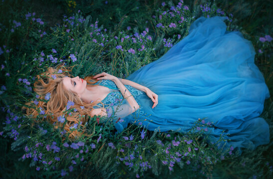 Art photo fairy tale sleeping beauty. Fantasy woman lies on blooming meadow in long blue medieval vintage dress. Summer nature background, green grass bed from purple flowers. Girl enchanted princess