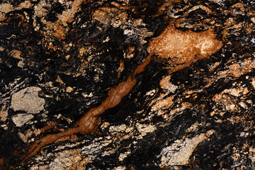 Black Sedna - natural polished granite stone slab, texture for perfect interior, background or other design project