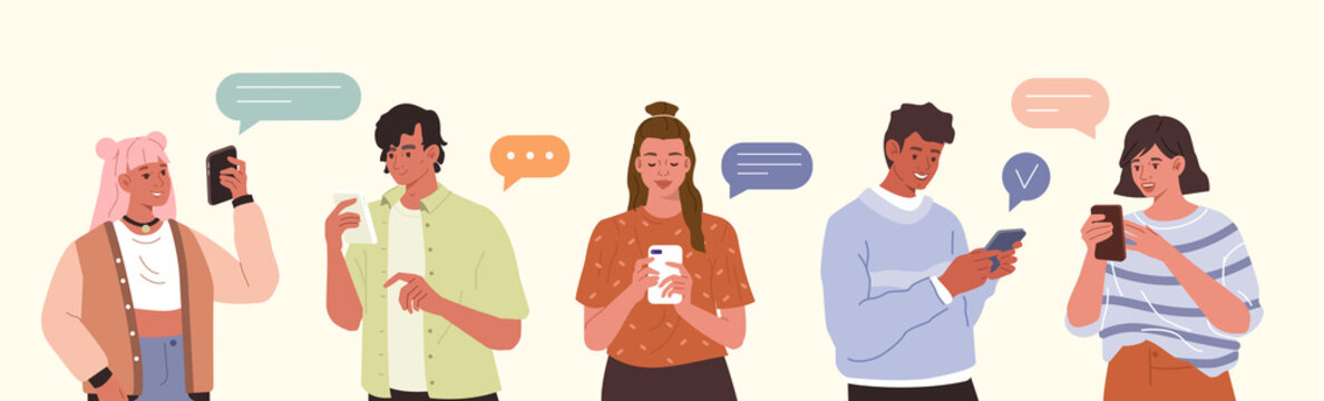 Young Fashionable People Looking on Smartphones and Chatting. Happy Boys and Girls talking and typing on Phone. Female and Male Characters collection. Flat Cartoon Vector Illustration.