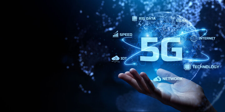 5G Fifth generation fast speed internet connection. Networking and telecommunication concept.