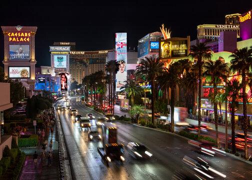 city street at night in Las Vegas, Nevada on September 17, 2019