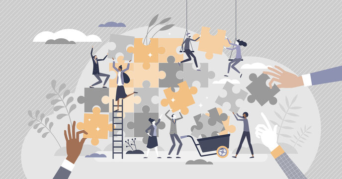 Teamwork puzzle as effective team collaboration process tiny person concept
