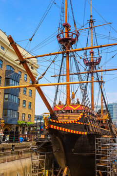 London, UK - May 23 2018: The replica of the Golden Hinde, the UK' famous ship of Sir Francis Drake that travel around the world between 1540 - 1596. The ship docked at St. Mary Overie's dock
