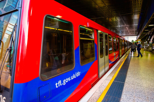 London, UK - May 21 2018: The Docklands Light Railway (DLR) is an automated light metro system opened in 1987 to serve the redeveloped Docklands area of East London