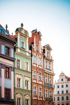 Antique building view in Old Town Wroclaw, Poland