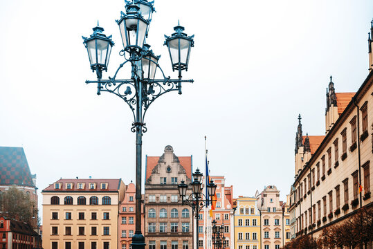 Street view of Old Town, Wroclaw, Poland