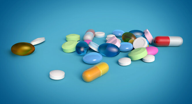 3d illustration of assorted and colorful medicines isolated on blue background. Concept image for pharmaceutical industry and medication research.