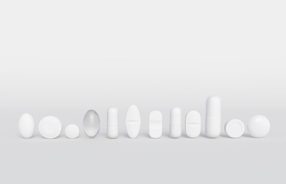 Assorted white medicines in a row isolated on a white backgdrop with space for text. 3d illustration for pharmaceutical industry and illness treatment.