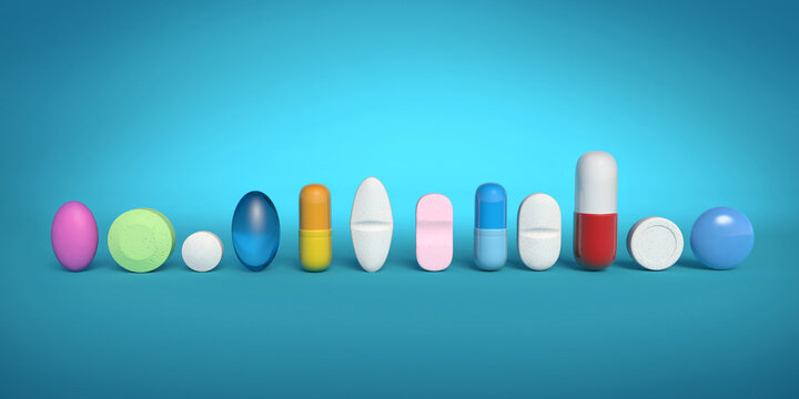 Colorful medicines in a row isolated on blue backdrop, 3d illustration. Pills and tablets rendering for pharmaceutical industry and health care..