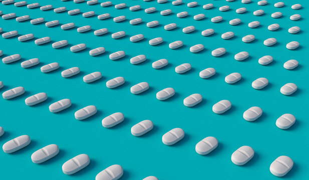 Many white tablets arranged in diagonal lines on blue background, 3d illustration. Concept for pharmaceutical industry or drug addiction