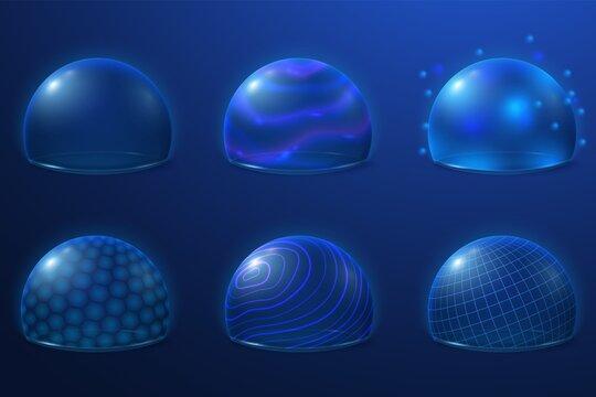 Bubble shields. Protect field, futuristic energy force safety bubbles. Transparent plasma surface, 3d security protection recent vector set. Illustration shield futuristic, bubble sphere energy