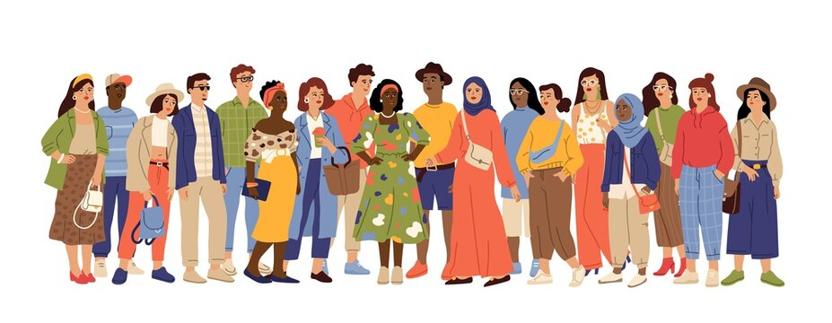 Multicultural people crowd. Diverse person group, isolated multi ethnic community portrait. Adult african european swanky vector characters. Crowd multicultural, woman and man different illustration