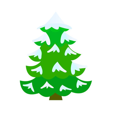 Snow covered Christmas tree. Vector illustration