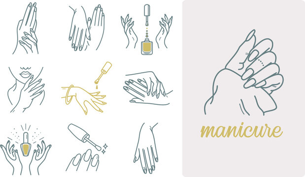 Manicure, skincare hands icons with nails, nail polish, and palms. Well-groomed hands vector outline design