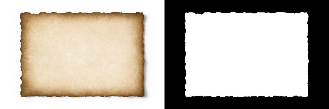 Old parchment texture with worn edges isolated with clipping path and alpha channel