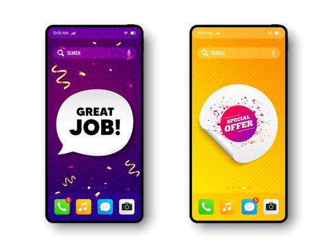 Special offer sticker. Phone mockup vector confetti banner. Discount banner shape. Sale coupon bubble icon. Social story post template. Great job speech buuble. Cell phone frame banner. Vector