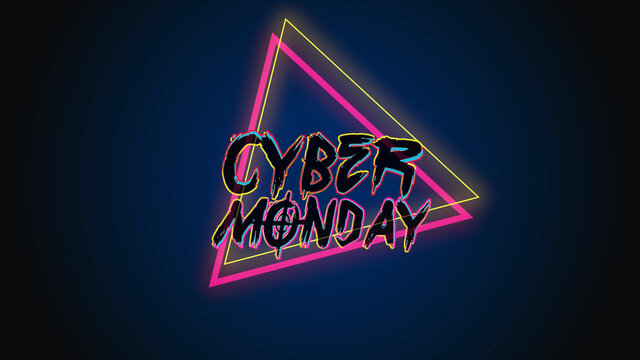 Text Cyber Monday on fashion and club background with glowing triangles