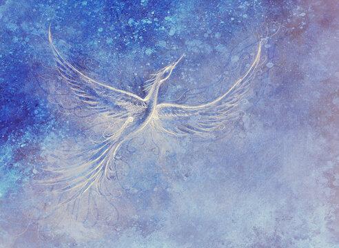 Flying phoenix bird as symbol of rebirth and new beginning.