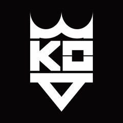 Fototapeta KO Logo monogram with crown shape isolated obraz