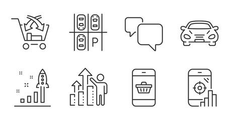 Seo phone, Speech bubble and Cross sell line icons set. Car, Parking place and Development plan signs. Employee results, Smartphone buying symbols. Search engine, Chat message, Market retail. Vector