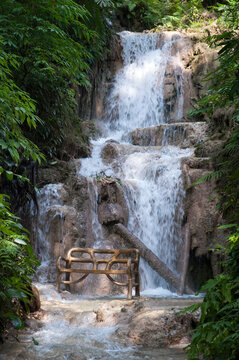 Ocho Rios Town Waterfall With A Bench