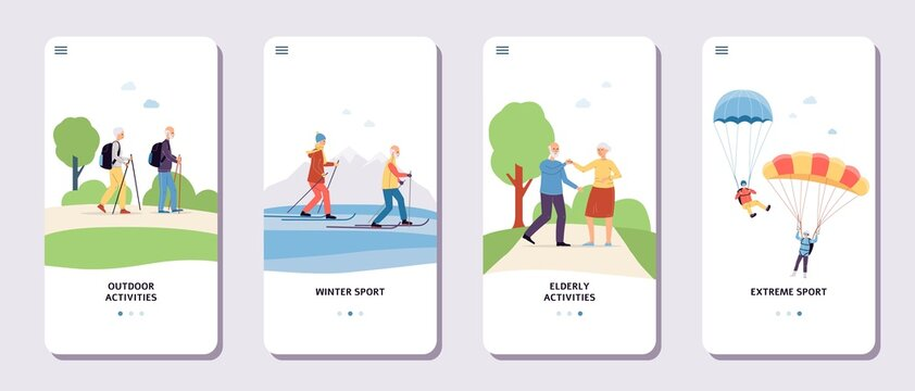 Onboarding pages of app for elderly people activity flat vector illustration.