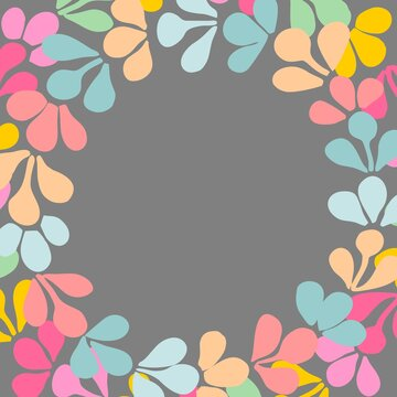 Pastel colorful floral wreath vector frame on dots background