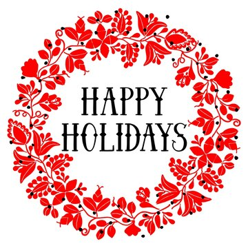 Happy Holidays red vector card with wreath