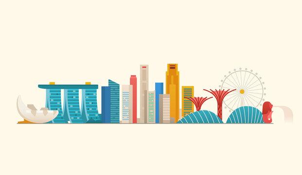 Singapore skyline. Famous places and landmarks.