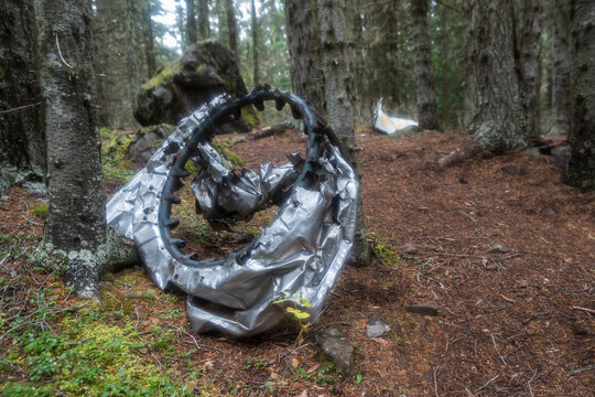 The wreckage of a crashed B-17 Flying Fortress on the side of a mountain in Olympic National Forest (Washington).