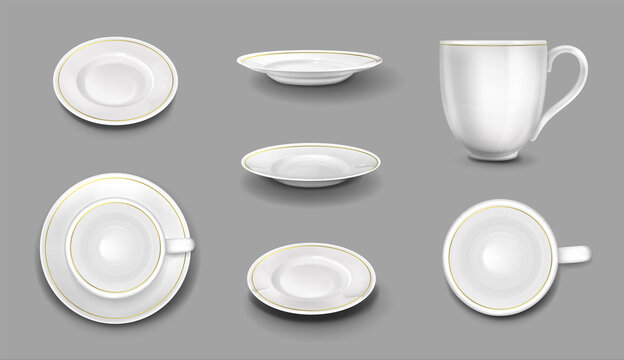 White plates and cups with gold border, realistic 3d ceramic mugs and dishes top and side view. Empty porcelain tableware, cutlery for food and drink mockup, vector illustration, isolated icons set