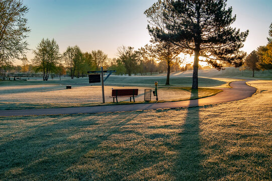 Frosty Early Morning Golf Course