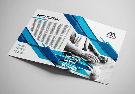 Business Bifold Brochure Layout with Blue Accents